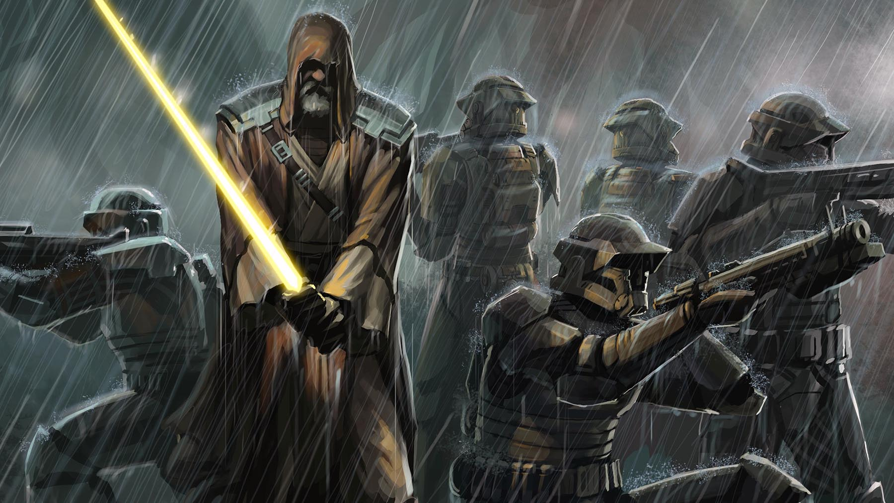 Jedi with Storm Troopers