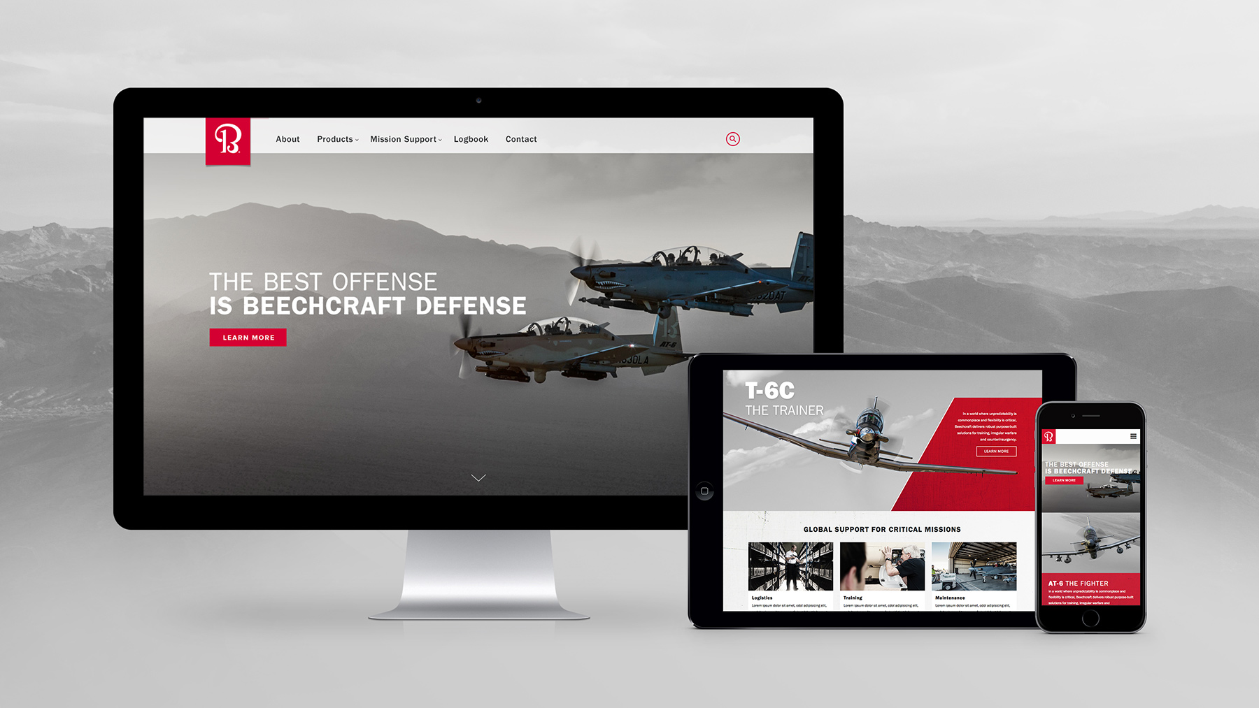 Beechcraft Defense Website on Multiple Devices