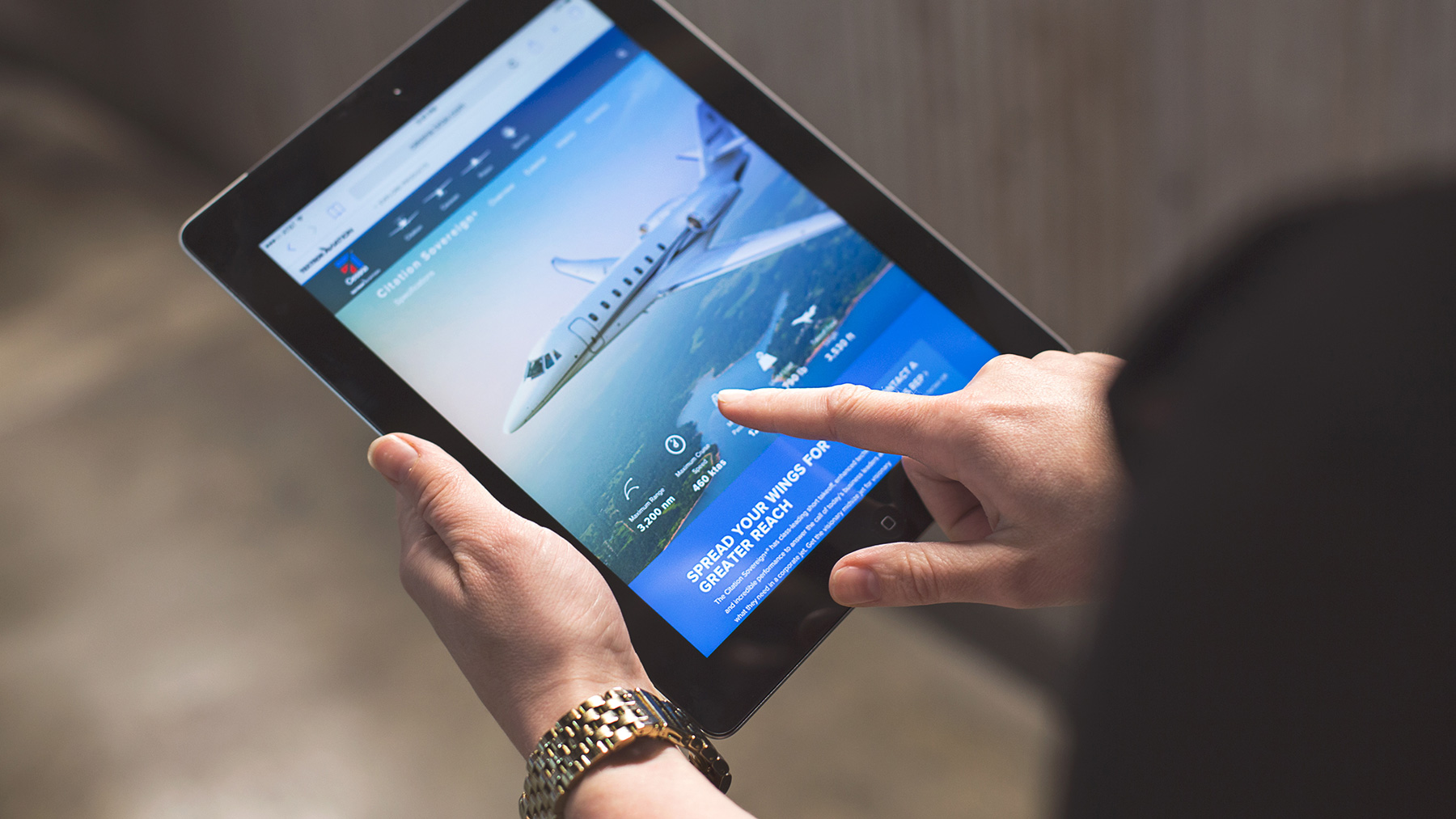 Aviation website on tablet