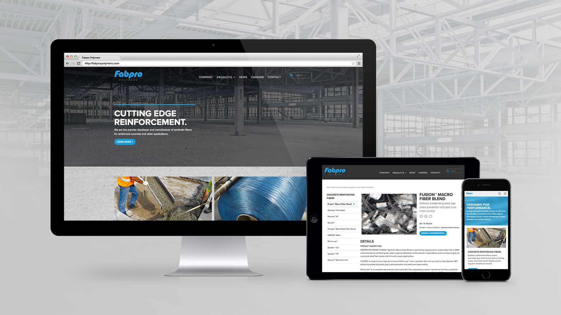 Fabpro Polymers Website on Multiple Devices