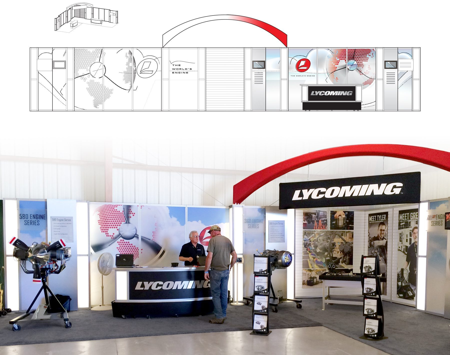 Aircraft engine manufacturer trade show booth sketch and a picture of a booth at a trade show