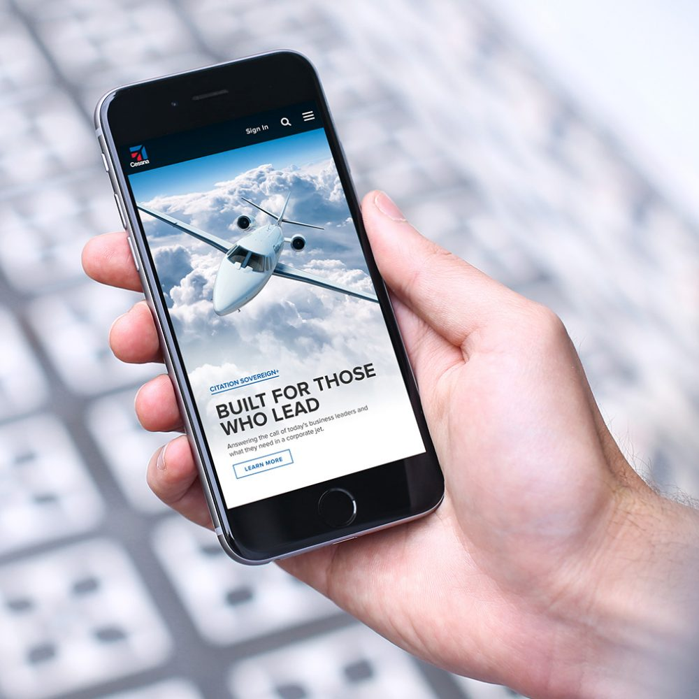 Aviation website being used on a phone
