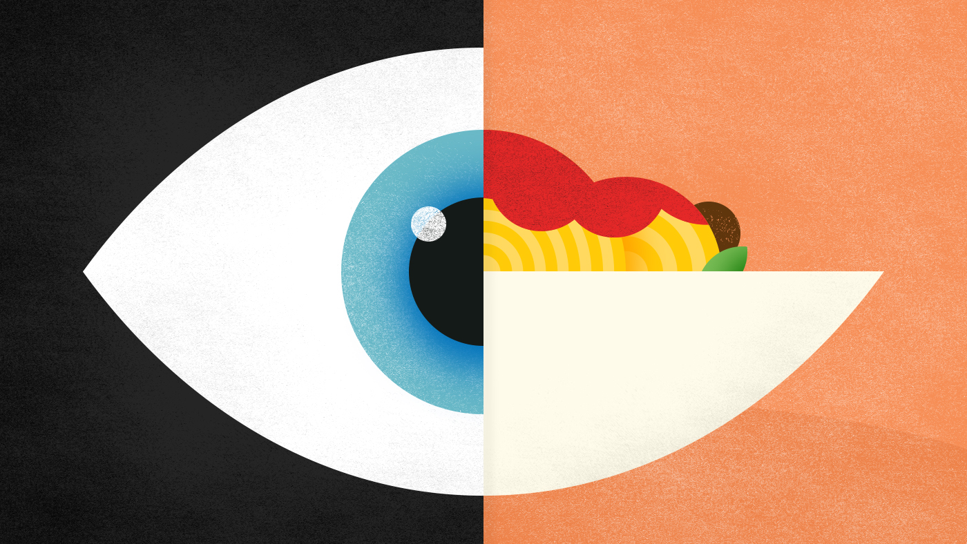 Illustration of an eye and plate of spaghetti