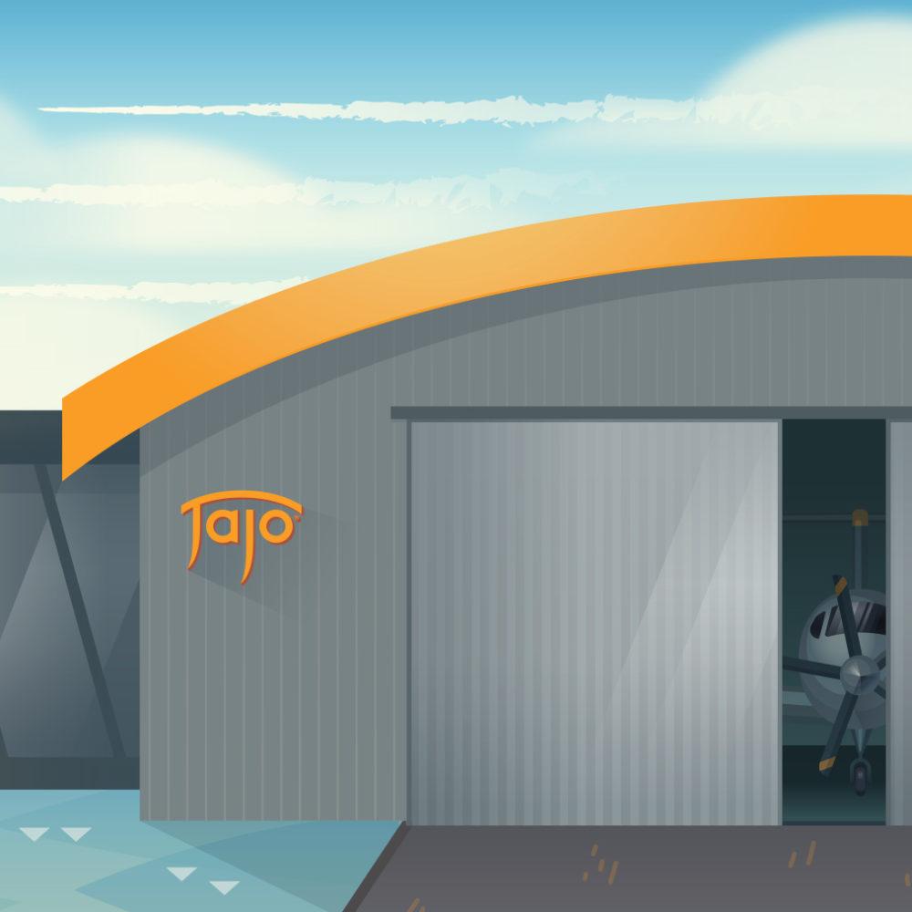 Illustrated Aviation Hanger with Jajo Logo
