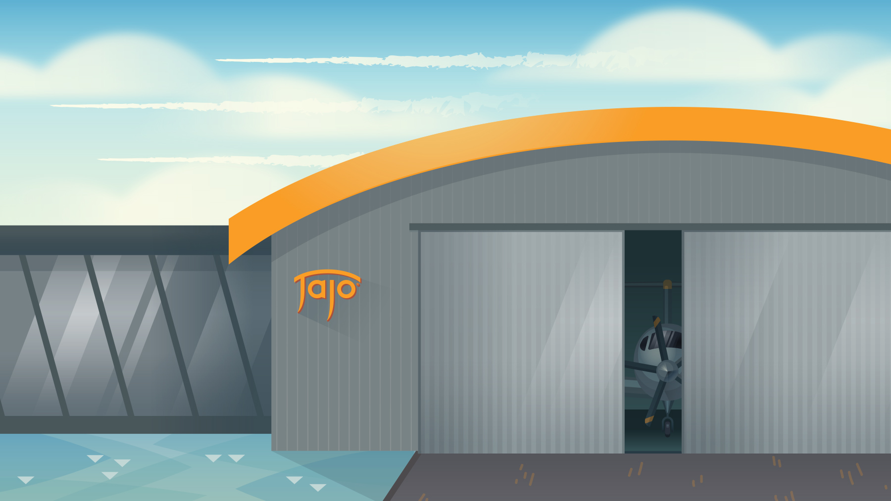 Illustrated Aviation Hanger with Jajo Logo