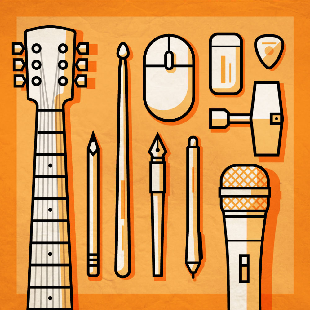 Illustration of music instruments, pencils and pens