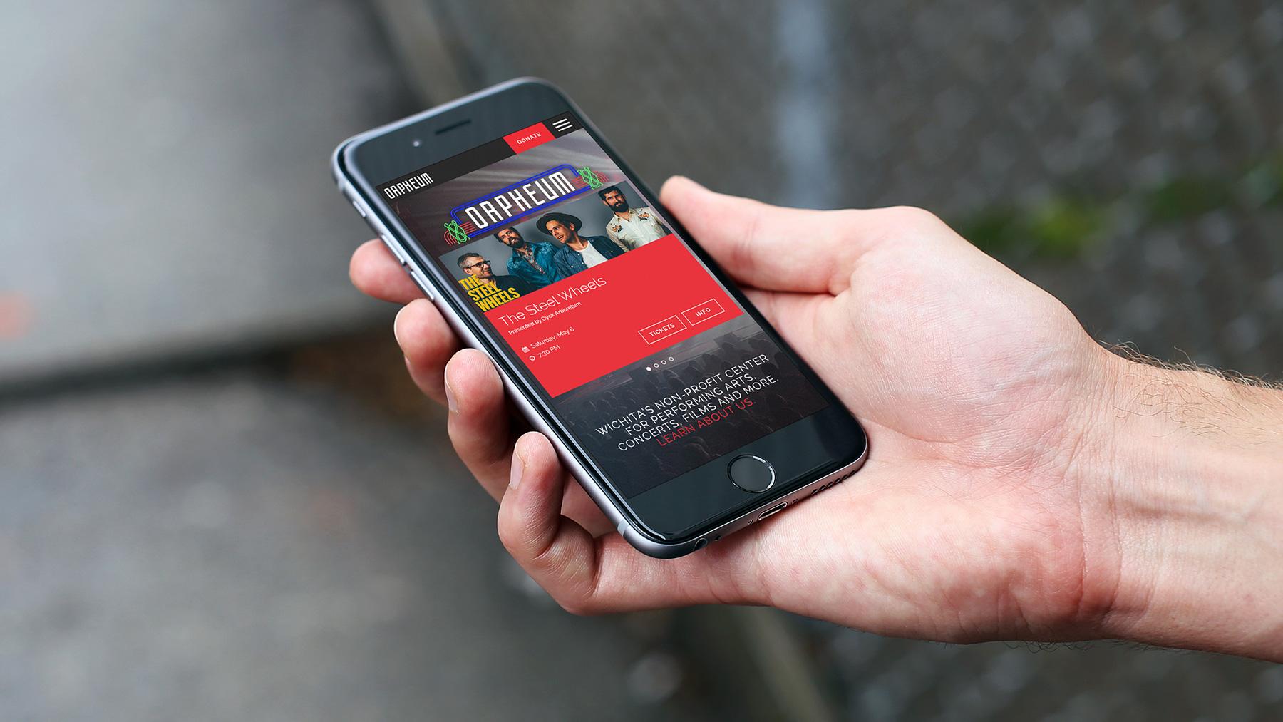Orpheum theater website on iphone